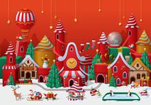 Christmas Winter Wonderland Greetings Template. Vector Illustration