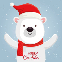 Merry Christmas Cute Bear Char...