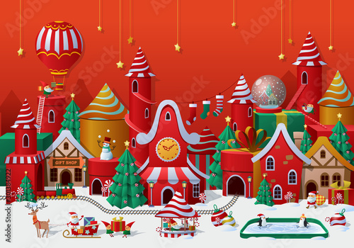 Obraz na plátně  Christmas winter wonderland greetings template