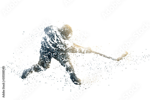 ice hockey abstract silhouette 1 wht bitmap ver. Canvas Print