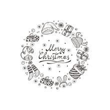 Merry Christmas Card With Hand Drawn Lettering And Celebratory Items. Holiday Background. Festive Frame. Christmas Wreath