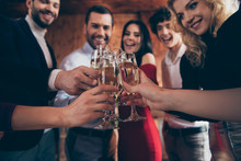 Cropped Close-up View Of Nice Attractive Trendy Elegant Cheerful Cheery Glad Positive Guys People Celebrating Clinking Glasses Congrats At Modern Industrial Loft Brick Wood Style Interior Indoors
