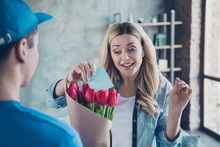 Close-up Portrait Of Nice Attractive Lovely Pretty Cheerful Cheery Wavy-haired Girl Getting Receiving Congrats Card Birthday Greetings Red Flowers At Modern Industrial Loft Brick Style Interior Room