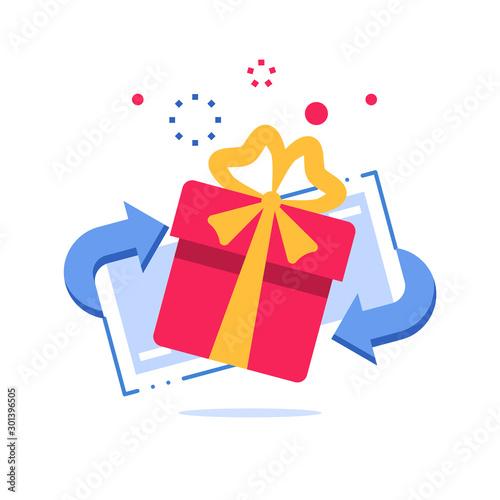 Fototapeta Special reward, prize giveaway, loyalty present, incentive or perks, bonus program obraz