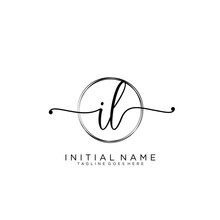 IL Initial Handwriting Logo With Circle Template Vector.