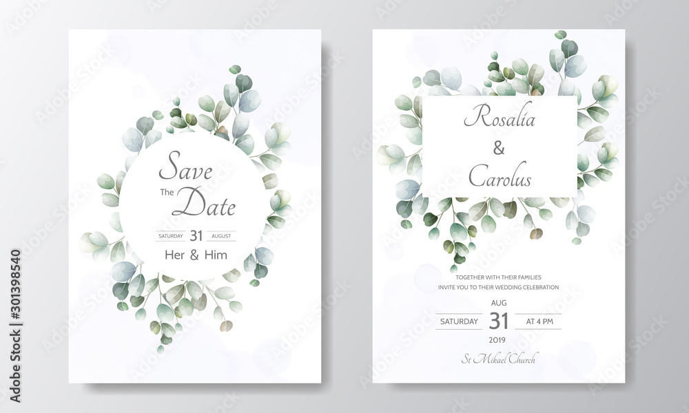 Fototapeta wedding invitation card with Eucalyptus leaves template