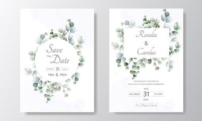 wedding invitation card with Eucalyptus leaves template