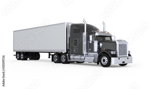 Cuadros en Lienzo Generic American sleeper semi truck with refrigerated semi trailer from the front right side, photo realistic isolated 3D illustration on the white background