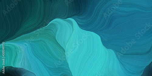 Fototapety, obrazy: abstract design swirl waves. can be used as wallpaper, background graphic or texture. graphic illustration with teal, dark cyan and medium turquoise colors