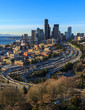 Seattle Skyline with the interstate curving through it