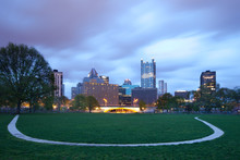Point State Park And City Skyline Of Pittsburgh At Dawn, Pennsylvania, USA