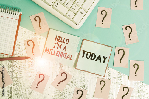 Conceptual hand writing showing Hello I M A Millennial Canvas-taulu
