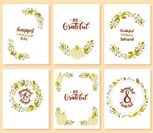 Set Of Happy Thanksgiving Day Cards.