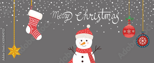 Photo  merry christmas poster with snowman and decoration hanging vector illustration d