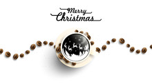 Merry Christmas In Cup Off Coffee And Beans On White Background From Above. Hot Drink Smell Of Christmas. Santa Ride Reindeer Sleigh. Winter Coffee Shop Advertisement Background. -Vector