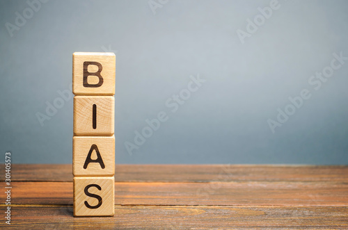 Photo Wooden blocks with the word Bias