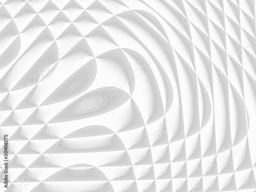 Foto op Aluminium Fractal waves White and light grey futuristic pattern. Monochromatic design for backgrounds, templates, backdrops, surface, textile and fabric designs. 3d render illustration