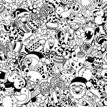 Christmas Doodles Funny And Cute Black And White Vector Seamless Pattern Design