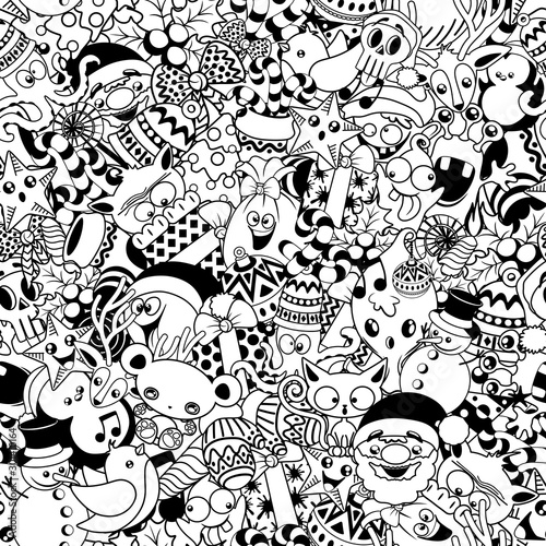 Photo Stands Draw Christmas Doodles Funny and Cute Black and White Vector Seamless Pattern Design