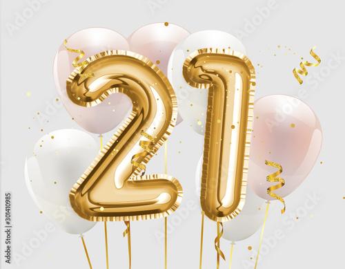 Fotografia Happy 21th birthday gold foil balloon greeting background