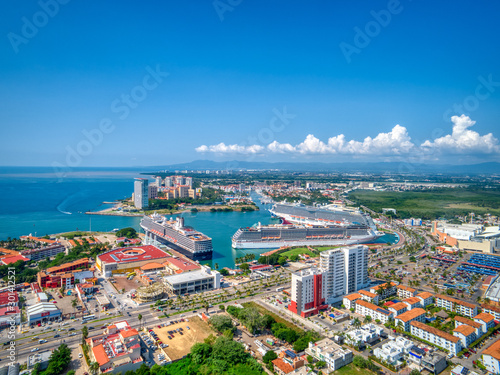 Canvas Prints Ship Aerial view of Cruise ships in Puerto Vallarta, Mexico
