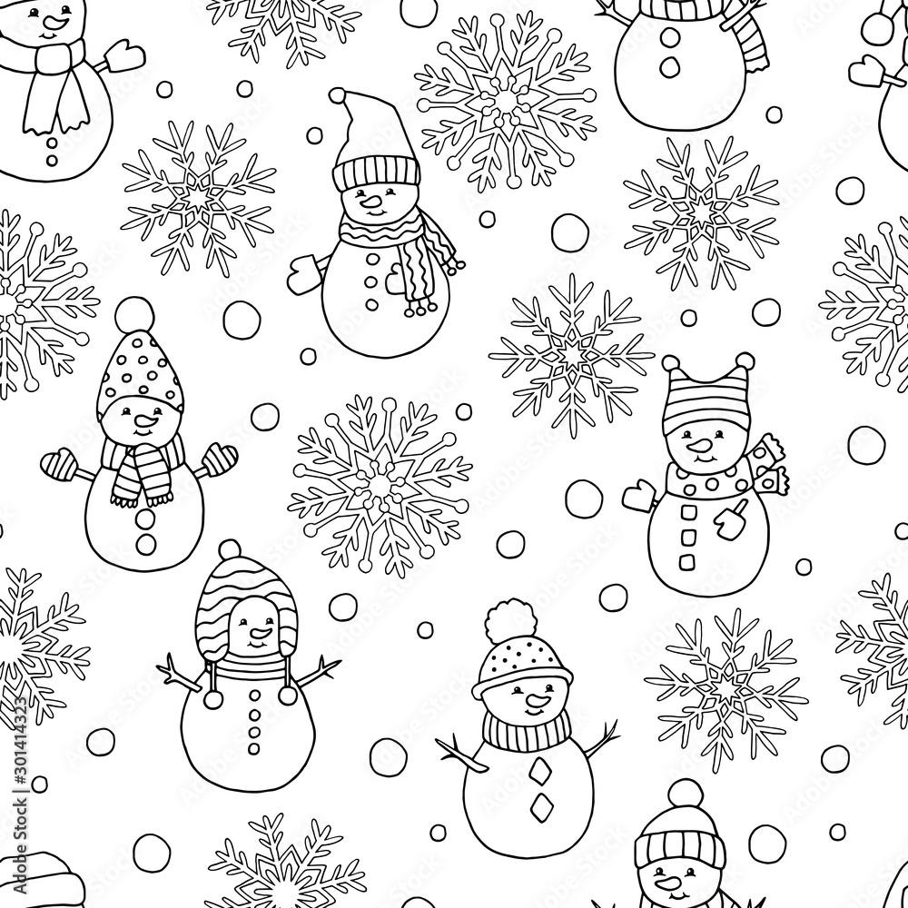 Fototapeta Coloring page with winter Christmas seamless pattern: snowflakes and snowmen