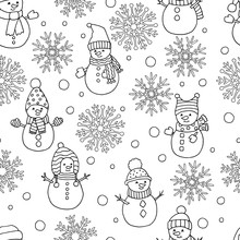 Coloring Page With Winter Chri...