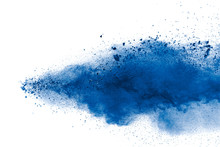 Blue Color Powder Explosion Cloud On White Background.Closeup Of Blue Dust Particles Splash On Background.