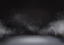White Fog Or Smoke On Dark Bac...