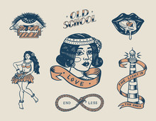 Set Of Vintage Old School Tattoo. Characters Playing Cards, Hawaiian Hula Dancer Woman, Lips And Lighthouse, Panther, Dice And Snake. Engraved Hand Drawn Sketch. Badges, Print Or Patches For T-shirt.