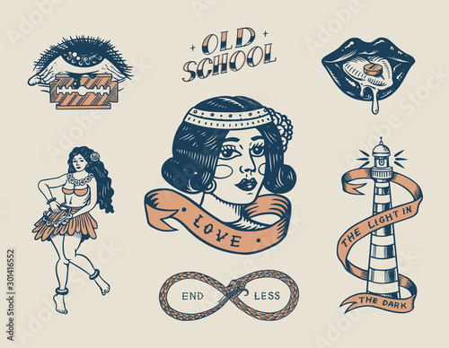 Canvas Print Set of vintage old school Tattoo