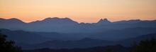 Panoramic Silhouette Of Mounta...