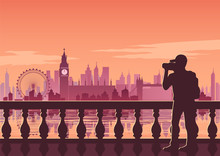 Tourist Take Photo Of Famous Place Called Big Ben,landmark Of England On Sunset Time,vintage Color Style,vector Illustration