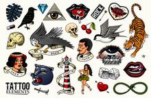 Old School Tattoo Set. Tiger A...