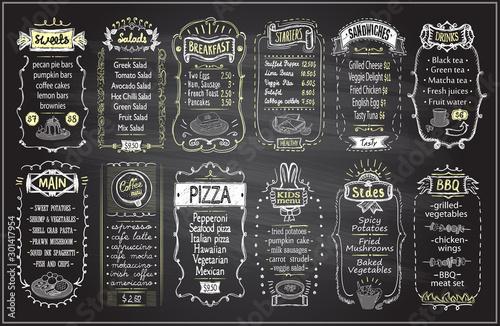 Cuadros en Lienzo  Chalk menu set on a blackboard - sweets, salads, breakfast, starters, sandwiches, etc