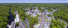 Medway Town Center Aerial View Panorama Including Sandford Mill On Charles River, Town Center And Village Street In Summer, Medway, Boston Metro West Area, Massachusetts, USA.
