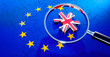 canvas print picture - Puzzle with European and UK Flag