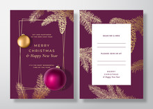 Christmas And New Year Abstract Vector Greeting Card, Poster Or Background. Back And Front Design Layout With Classy Typography. Sketch Pine Branches, Strobile. Purple Realistic Toy Balls Invitation