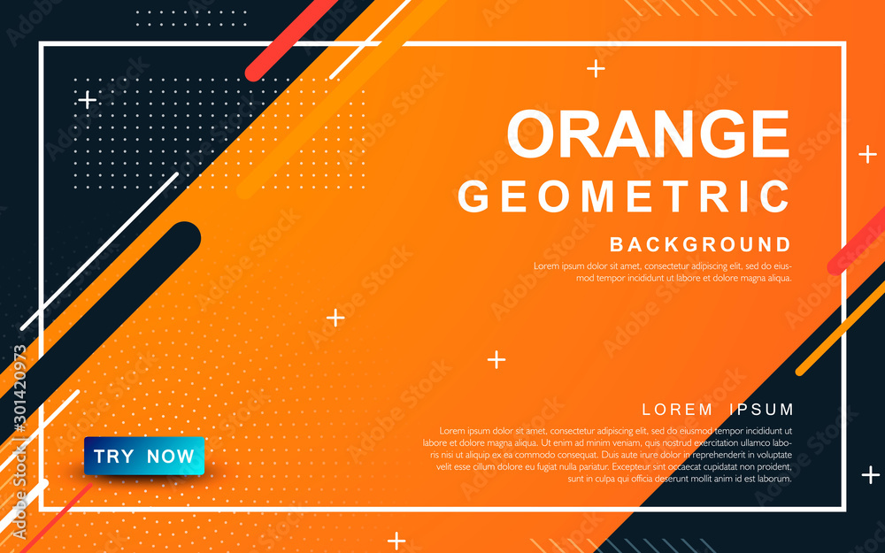 Fototapety, obrazy: Abstract orange background. Geometric element design with dots decoration.