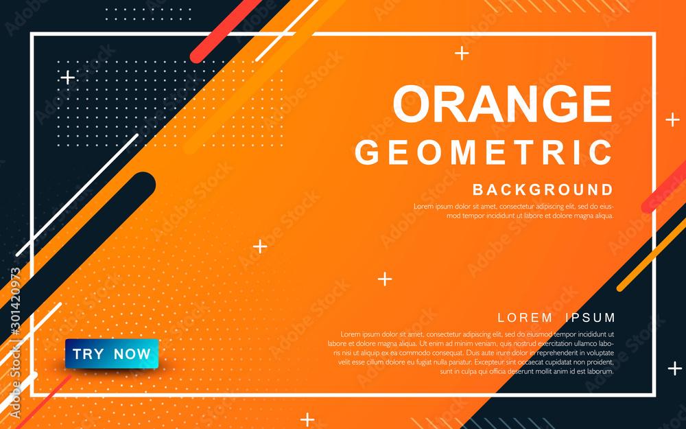 Fototapeta Abstract orange background. Geometric element design with dots decoration.