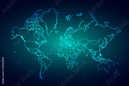 Fototapeta  Abstract mash line and point scales on dark background with Map World