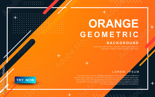 Abstract orange background. Geometric element design with dots decoration.