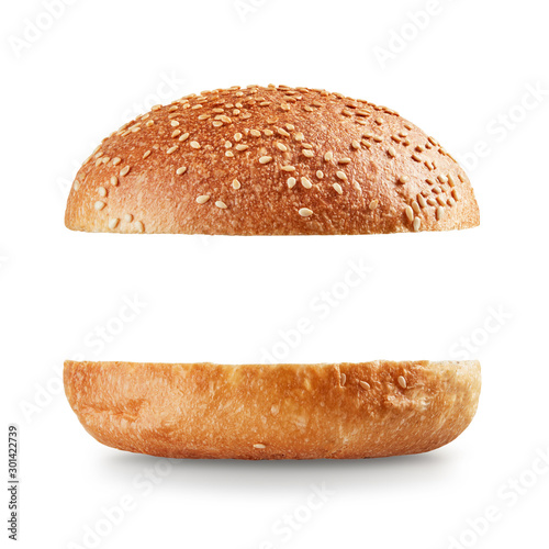 Fototapeta Open burger bun on white background obraz