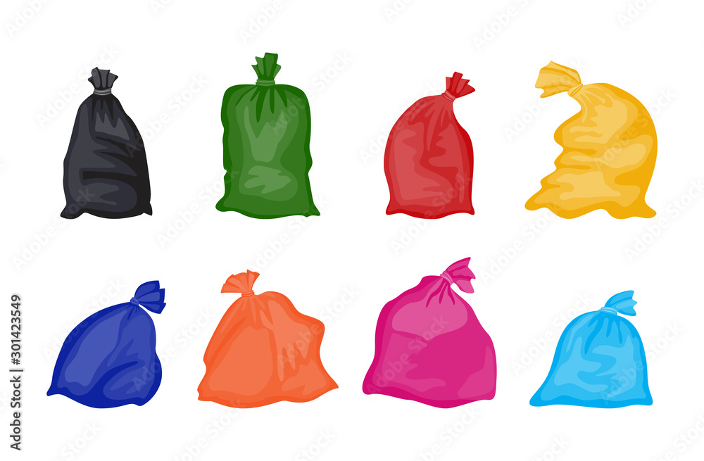 Fototapeta Set of colorful trash bags full of garbage isolated on white background.