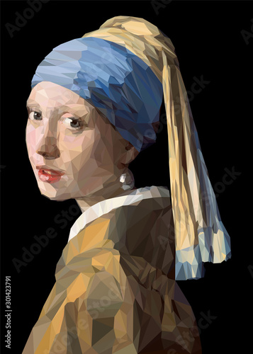 Vector LowPoly Reproduction of Girl with a Pearl Earring Wallpaper Mural