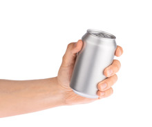 Hand Holds Metal Beverage Drin...