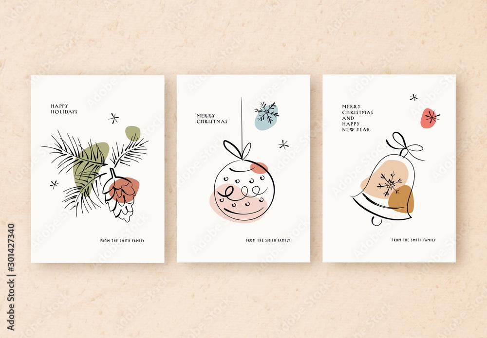 Fototapety, obrazy: Holiday Card Layout Set with Minimalist Line Art Illustrations