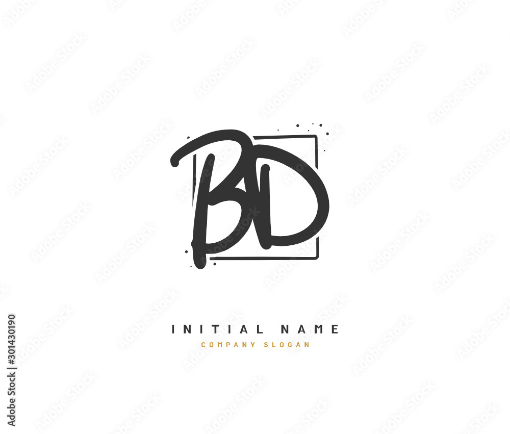 Fototapety, obrazy: B D BD Beauty vector initial logo, handwriting logo of initial signature, wedding, fashion, jewerly, boutique, floral and botanical with creative template for any company or business.