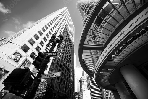 Fototapety, obrazy: Skyscrapers in downtown San Francisco in black and white