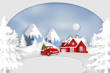 Paper Art, Cut And Digital Craft Style Of Santa Claus And Snowman In Red Car In The Merry Christmas Night And  Happy New Year 2020 As Holiday And X'mas Day Concept. Vector Illustration.
